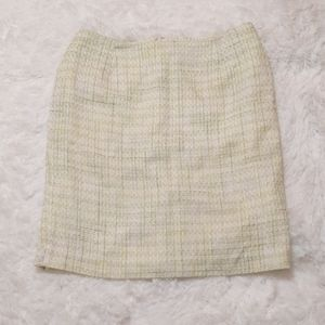 Light Green and White Tweed Skirt